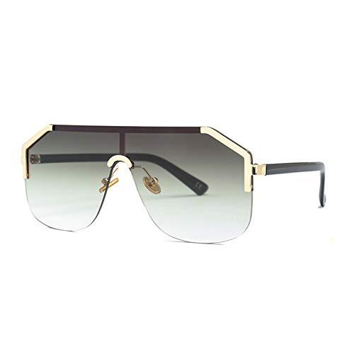 Kjwsbb Übergroße quadratische Sonnenbrille Frauen One Piece Lens Shades Gold Schwarz Half Frame Sonnenbrille für Männer Verlaufsglas