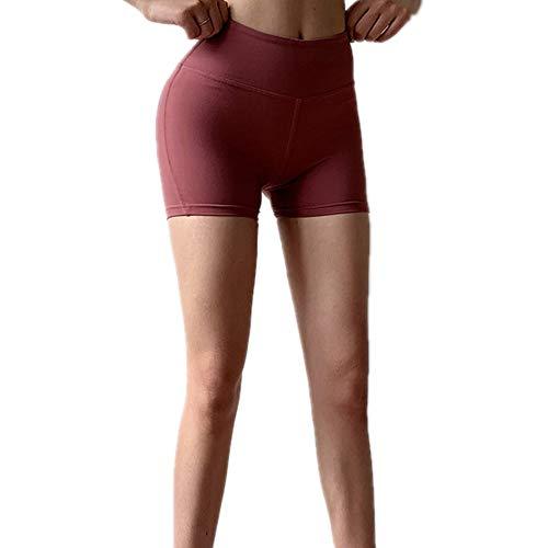 YEHAOFEI Shorts 2019 Fitness Shorts weiblich eng Pfirsich Hüfte Übung Hot Pants Yoga Training schnell trocknend elastisch Hüfte DREI Hosen Rot S -