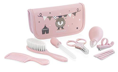 89125 Miniland Baby Kit per la Cura del Bebè da Casa e Viaggio con Contagocce Aspiramuco Pettine Spazzola naturale Forbici Tagliaunghie e Lime