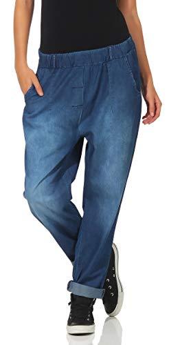 Malito Mujer Harem Pantalones Denim Estilo Aladdin Jeans Pantalones 8469 (Azul, Adecuado de la Talla...