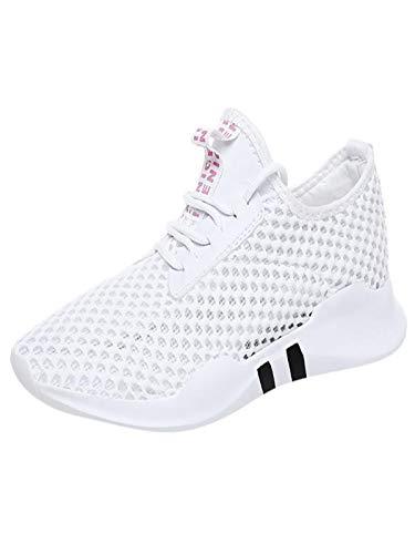 HDUFGJ Damen Sneaker Laufschuhe Straßenlaufschuhe Sportschuhe leicht Walkingschuhe Netzoberfläche Atmungsaktiv freizeitschuhe35(Weiß)