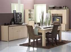 Cet ensemble est composé d'une table + 4 chaises Vintage + une enfilade + un living + une vitrine - Panneaux de particules - Revêtement papier déco...