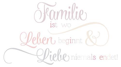 Wandtattoo Familien Spruch Leben und Liebe in tollen Pastell Farben -