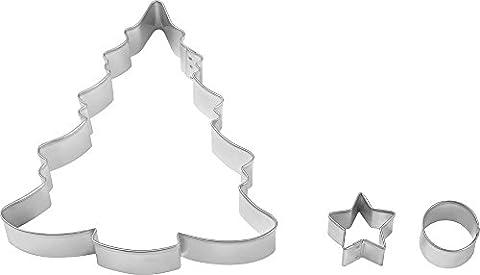 Wilton Cookie Cutters, SET of Three Christmas Tree Decoration SET of 3 Cookie Cutters with Decorated Christmas Tree, Steel,