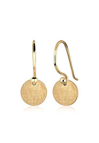 Elli Damen Echtschmuck Ohrringe Kreis Geo Trend Basic Matt in 925 Sterling Silber vergoldet