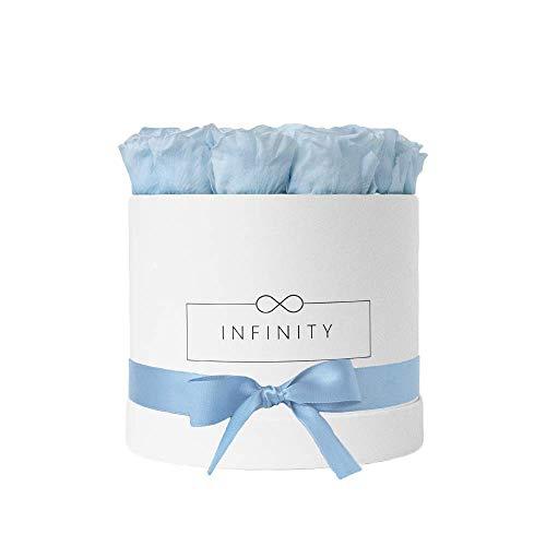 Infinity Flowerbox Large (Weiß) - 18 echte Premiumrosen in Baby Blue