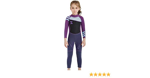 d77d765d2a DIVE&SAIL Girls 2.5 mm Neoprene Wetsuit UPF 50+ Sun Protection Full Length  One Piece Surfing Thermal Swimsuits Sunsuits