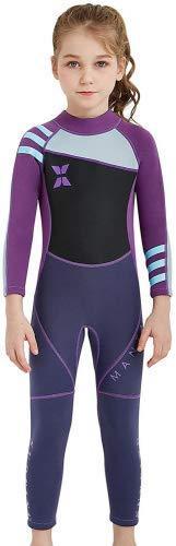 DIVE&SAIL Muta da Sub in Neoprene Costume da Bagno Swimwear da Bambina Ultra Stretch Maniche Lunghe Per Immersione Nuoto Sport Acquatici - Viola - Taglia L