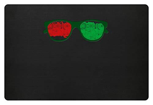 Sonnenbrille Rot Grün Motiv Damen Herren - Schlichtes Und Witziges Design - Fußmatte