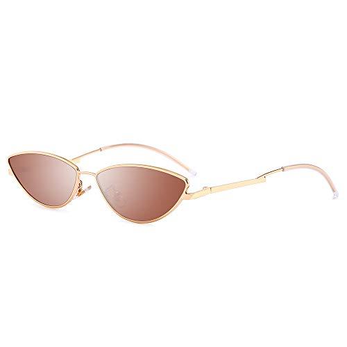AMZTM Kleine Katzenauge Sonnenbrille - Vintage Mode Designer Sonnenbrillen für Mädchen Damen Goldener Rahmen Grüne Linse UV400 Schutz HD Vision Schlanke Sonnen Brillen