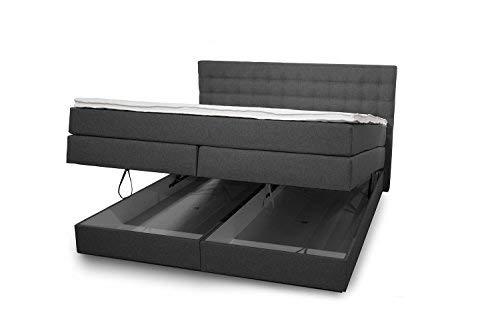 King Boxspringbett 140x200 cm mit Bettkasten und Luxus 7-Zonen Taschenfederkernmatratze Visco-Topper H3 Anthrazit Hotelbett Doppelbett Polsterbett