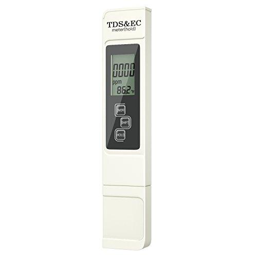 Housolution TDS Meter - 3 in 1(TDS,EC,Temperature) Digital Messegerät höhe Genauigkeit und Richtigkeit zur Prüfung der Wasserqualität für Trinkwasser, Aquarien, Pools, Spas usw., Weiß