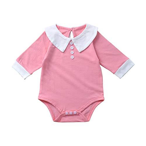 Blut-baby-puppe Shirt (Deloito Säugling Bekleidungsset Kinder Mädchen Lässig Langarmshirt Hosen Outfits Puppen Kragen Rüschen Strampler Bodysuit (Rosa,70/[3-6 Monate]))