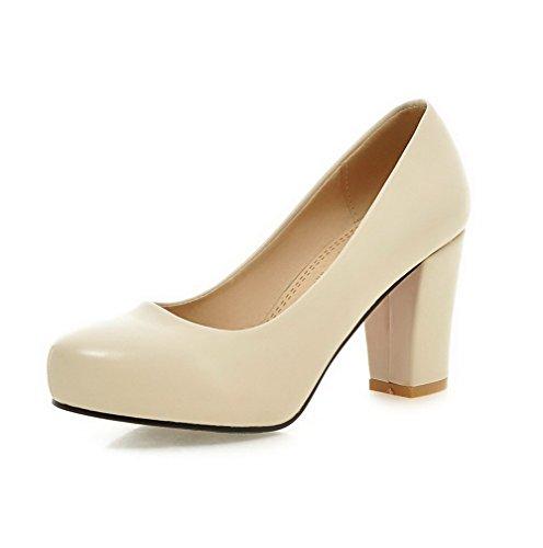 VogueZone009 Femme Matière Mélangee Tire Rond à Talon Haut Couleur Unie Chaussures Légeres Beige