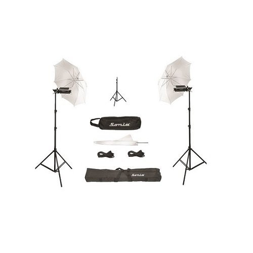 SUPER UMBRELLA VIDEO LIGHT (Pair) for STILL / VIDEO PHOTOGRAPHY PORTABLE studio kit with Free 5 x 1000 watt Halogen Tubes, Heavy Duty 9 Feet Height Light Stand