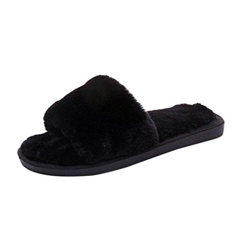Da donna scivolare su pelliccia fluffy faux slipper piatto (nero, 36)