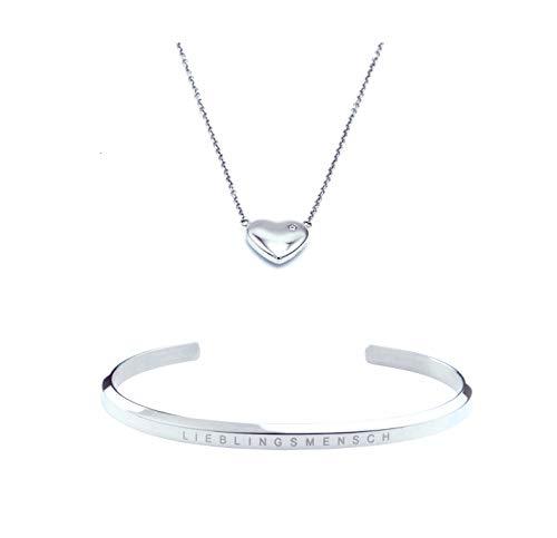SIMPLIICITY Schmuck Set Damen Silber Edelstahl Herz Kette Armband mit Gravur LIEBLINGSMENSCH Geschenk für Frauen (Herz Kette-armband)