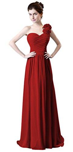 drasawee Femme une épaule à volants en mousseline de soie robe longue Fête Soirée Demoiselle d'Honneur Multicolore - Rouge vin