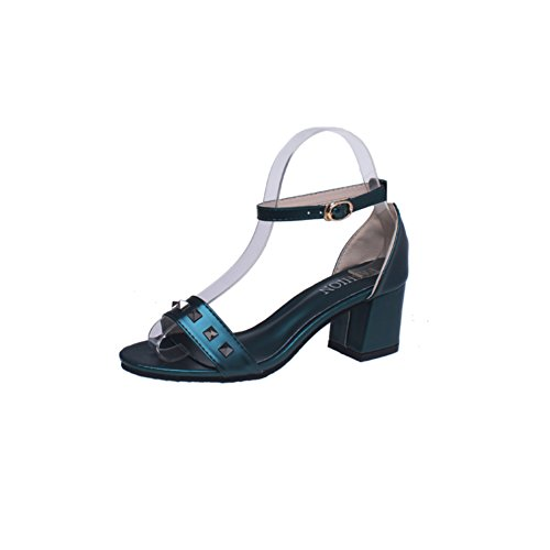 Ms mode rivet sandales peep-toe/Bouton de Joker loisirs été cales chaussures D