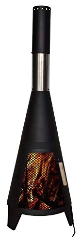 Marko Outdoor Chimenea Outdoor Garden Patio Heater Chimnea Square Wood Burner Steel Chiminea (Modern 120cm)