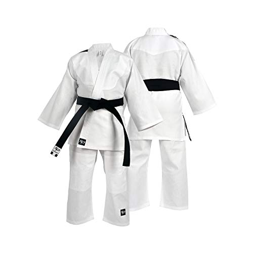 Starpro Kinder Kampfkunst Kostüm Karate Judo Anzug Kleidung - Kampfkunst Judo Kit Kostüm Set Jacke Hosen mit kostenlosem Gürtel (White, 100cm)