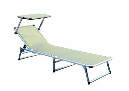 Sedia a sdraio con parasole in alluminio 180 x 50 x 25 cm tenendo colori assortiti lettino lettino pieghevole