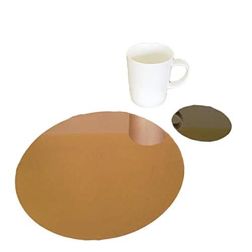 Super Cool Creations rund Tischset und Untersetzer Set - Bronze Spiegel, 4 Placemats and 4 Coaster - Standard