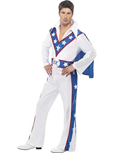 änner Männer Evel Knievel Stuntman Kostüm mit Overall Einteiler und Umhang, perfekt für Karneval, Fasching und Fastnacht, L, Weiß ()