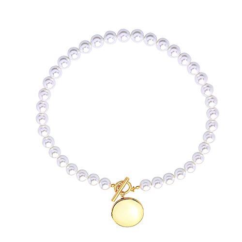 Udecoroption Faux Perlenkette, Anhänger Halskette Frauen Statement Halskette für Casual Tops, Tunika oder Maxikleider,d