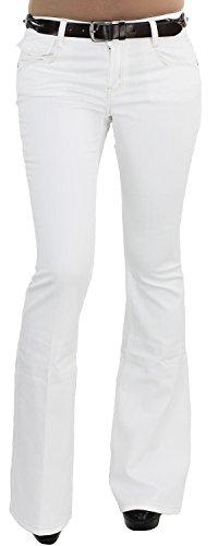 Bootcut-denim-hosen (Damen Schlaghose Stretchjeans Hüftjeans Bootcut Jeans Hose mit Gürtel Weiß P113529A XS/34)