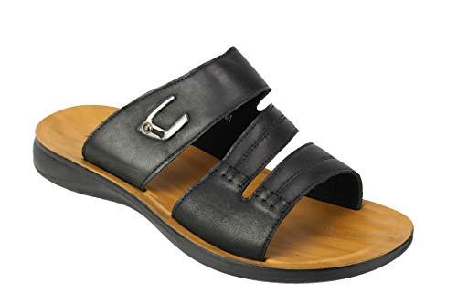 Sandali da uomo in vera pelle, grandi dimensioni, aperti sul davanti, estivi, nero (nero), 46.5 eu