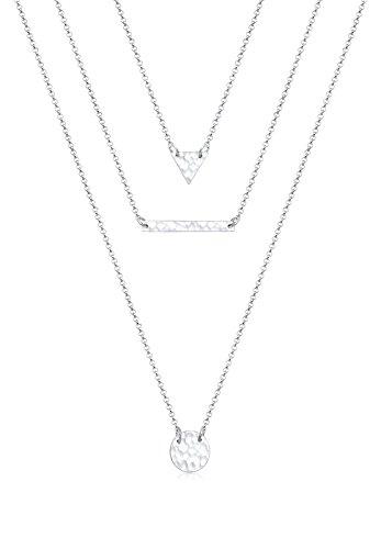 Elli Damen Schmuck Halskette Layer Kette Geo Kreis Layer gehämmert Trend Blogger Silber 925 Länge 40 cm