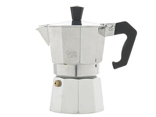Home Caldo Caffè -Cafetera Moka para Espresso, 3 Tazas, Aluminio, Gris, 15 x 8,5 x 15,5 cm