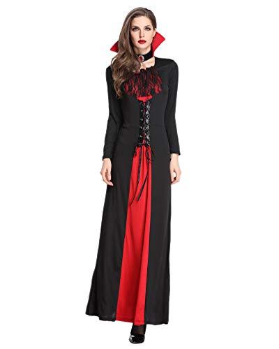 Lvraoo costume da strega da donna per halloween masquerade costume regina dei vampiri (nero rosso, asia m)