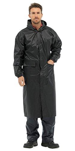 Langer, wasserdichter Regenmantel (Regenjacke) für Herren mit Kapuze Gr. Small, Schwarz