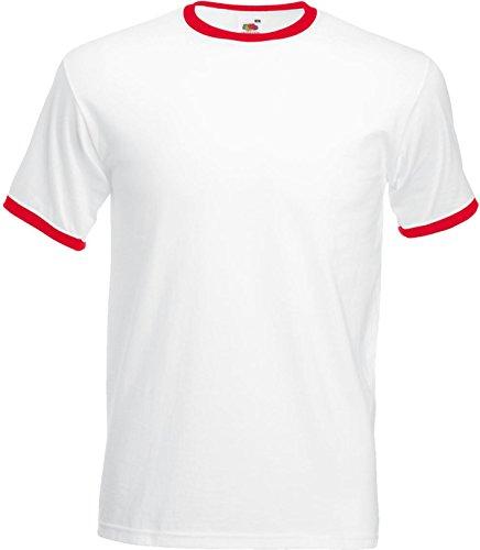 Fruit of the Loom Herren Casual Wear T-Shirt Top Short Sleeve Crew Neck Ringer Tee Mehrfarbig - White/ Red
