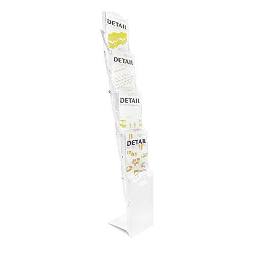 Faltbarer DIN A4 Prospektständer / Bodenprospektständer faltbar Real-Zip (Weiss) standfest und...