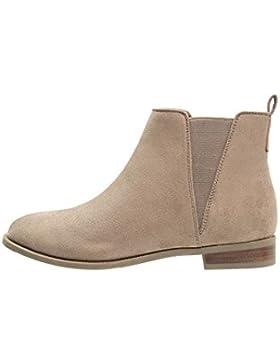 Anna Field Ankle Boots Damen Beige, Cognac o. Schwarz, unifarben – Stiefeletten in Braun und flach – Chelsea Boots...