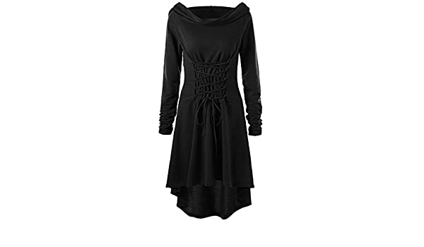 e4b2c980fa Women s Medieval Costume Long Sleeve Lace Up Bandage Hooded Pullover Dress  Vintage Renaissance Mini Dress Retro Irregular Short Dress for Ladies Teen  Girls ...