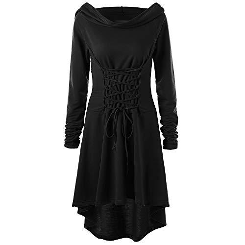 Lazzboy Frauen Kostüme Schnüren Sich Oben mit Kapuze Vintage Pullover High Low Bandage Langes Kleid Mantel(L,Schwarz)