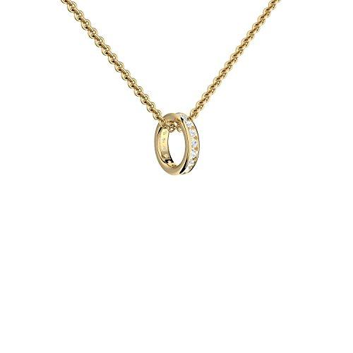Ring Anhänger Kette Ring an Kette Gold (Silber 925 hochwertig vergoldet)*** inkl. GRATIS Luxusetui *** Taufring Taufkette mit Zirkonia Memory Ring Kette Ringkette Halskette FF421 VGGGZIFA45
