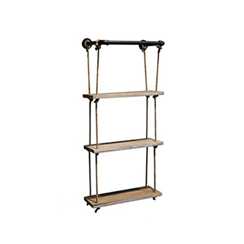 Health UK Accessories- Startseite Anhänger Industrie Wasserpfeife Rack Loft Eisen Wandbehang Hanf Seil Partition Club Village Drei-Schicht Nostalgischen Handwerk Coffee Shop Wand-Restaurant Bar Wand Dekorative Regal Welcome ( größe : 48*23*80cm ) (Club Village)