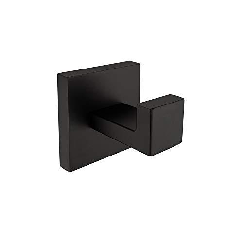 Haken für Badezimmer Bademantel Haken in Dusche Haken Edelstahl modernen quadratisch Stil Wandhalterung matt schwarz ()