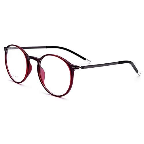 Rahmen Ultra Light TR90 Männer und Frauen Runde Retro Brille Brille (Farbe : Wine red Frame, Größe : Free)