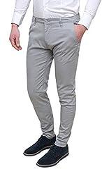 Idea Regalo - Evoga Pantaloni Uomo Class Primavera Estate Slim Fit Casual in Cotone (48, Grigio Chiaro)