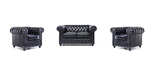 Original Chesterfield Sofa und Sessel – 1 / 1 / 2 Sitzer – Vollständig Handgewaschenes Leder – Schwarz