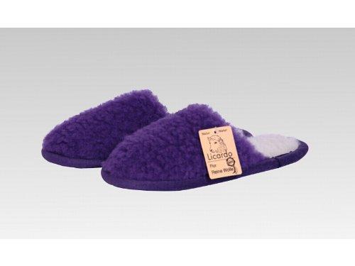Pantoffel Wolle farbig, 100 % Schurwolle i. F., Farbe Lila Lila