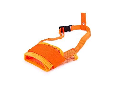 Jeephuer Niedlich Dog Mouth Cover Einstellbare Sicherheit Gegenbeißen Barking Mask (Orange L)