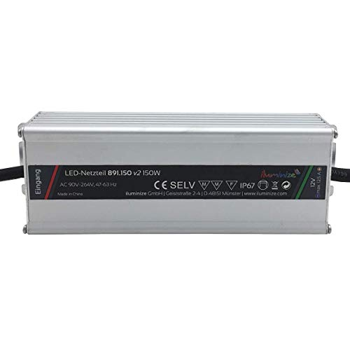 iluminize LED-Netzteil: hochwertiges & leistungsstarkes LED-Netzteil Aluminium 12V, IP67, brummfrei, laststabil, Anschlusskabel 35cm ohne Stecker (12V 150W)