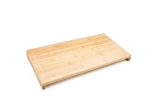 Relaxdays Schneidebrett Bambus HxBxT: ca. 4,5 x 52 x 29 cm großes und robustes Holzbrett Küchenbrett mit Saftrinne Schneidunterlage aus Holz zum Tranchieren als Servierbrett und Herdabdeckung, natur